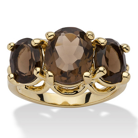 4.90 TCW Oval Cut Genuine Smoky Quartz 14k Yellow Gold-Plated 3-Stone Ring