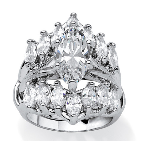5.98 TCW Marquise-Cut Cubic Zirconia Silvertone Engagment Engagement Wedding Ring Set