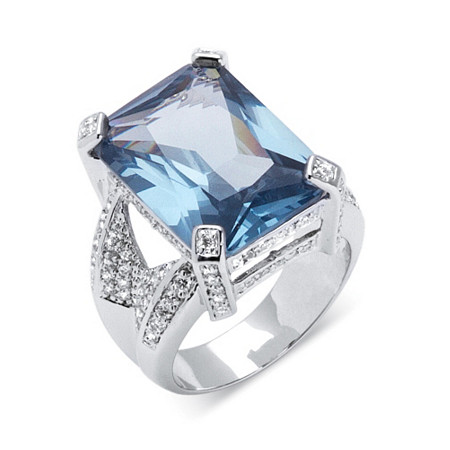 27.30 TCW Emerald-Cut Blue Cubic Zirconia Silvertone Cocktail Ring