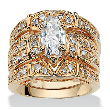 3.05 TCW Marquise-Cut Cubic Zirconia 14k Gold-Plated Wedding Wedding Ring Set
