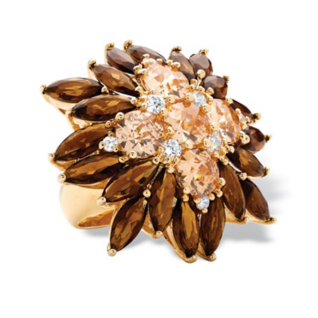 8.09 TCW Champagne-Color Cubic Zirconia and Smoky Quartz-Colored Glass 14k Gold-Plated Flower Ring
