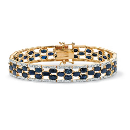 20.66 TCW Oval-Cut Midnight Blue Genuine Sapphire Diamond Accent 14k Gold-Plated Tennis Bracelet