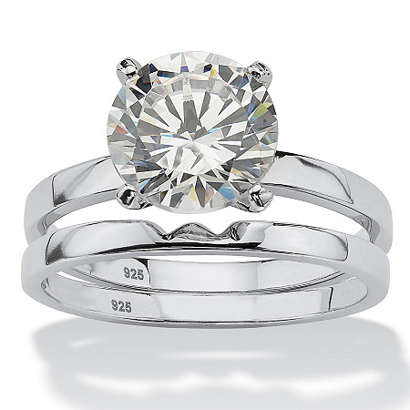 3-Carat Round Cubic Zirconia Platinum over Sterling Silver Solitaire Bridal Engagement Set