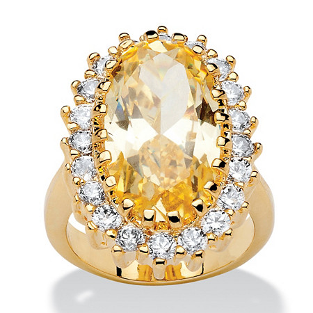 14.06 TCW Oval Cut Cubic Zirconia 14k Gold-Plated Canary Yellow/White Crystal Ring