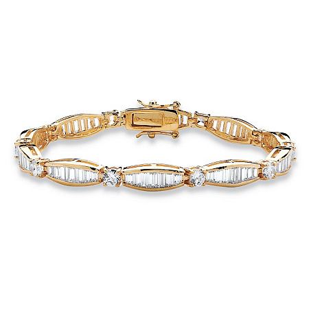 7.50 TCW Round and Baguette Cubic Zirconia 14k Yellow Gold-Plated Tennis Bracelet 7 1/4