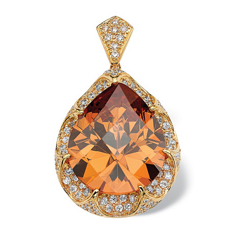 39.92 TCW Pear Cut Cubic Zirconia 14k Gold-Plated Pendant