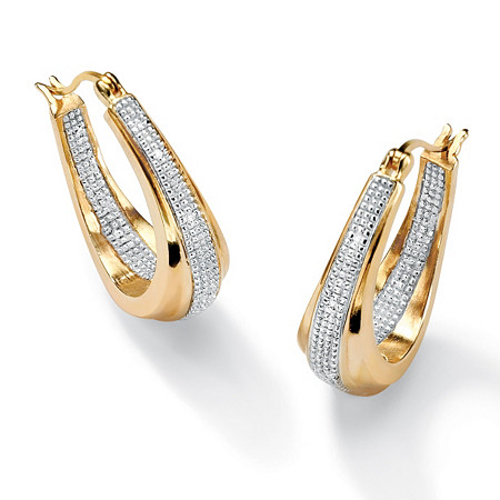 Diamond Accent 14k Gold-Plated Oval-Shaped Inside-Out Hoop Earrings
