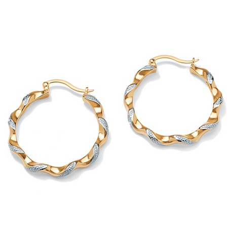 Diamond Accent 14k Yellow Gold-Plated Hoop Earrings 1 1/3 Diameter