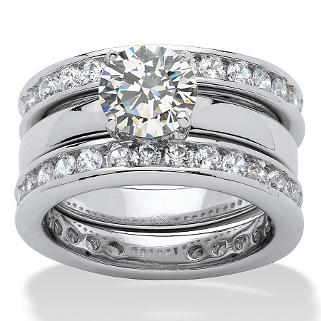 3.28 TCW Round Cubic Zirconia Silvertone Bridal Engagement Ring Wedding Band Set