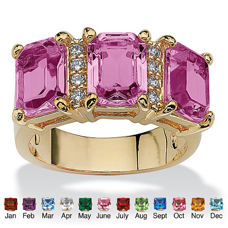 Emerald-Cut Birthstone and Cubic Zirconia 14k Gold-Plated Ring
