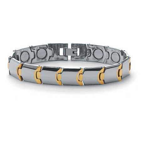 Men's Gold ION-Plated Stainless Steel Magnetic Puzzle-Link Bracelet 8