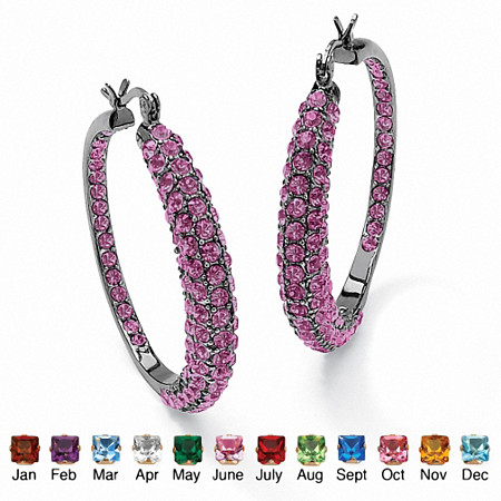 Birthstone Black Rhodium-Plated Inside-Out Hoop Earrings