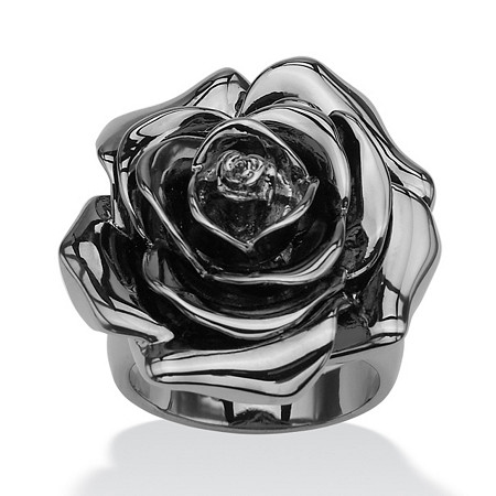 Black Rhodium-Plated Rose-Shaped Electroform Flower Ring