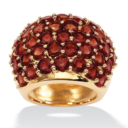 11.70 TCW Round Genuine Garnet 14k Yellow Gold-Plated Dome Ring
