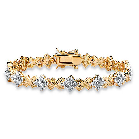 1/2 TCW Round Diamond 14k Yellow Gold-Plated X & O Tennis Bracelet 7 1/2