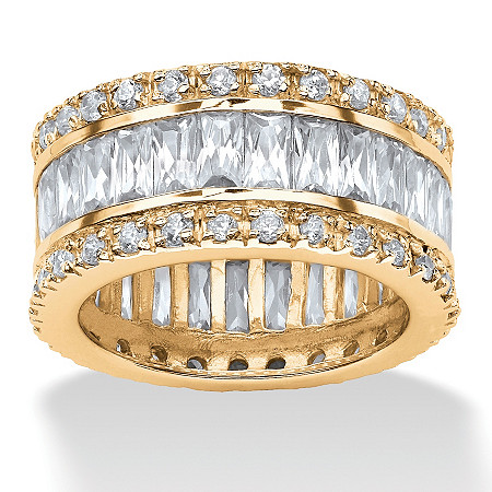 9.34 TCW Round and Emerald-Cut Cubic Zirconia 14k Gold-Plated Eternity Band