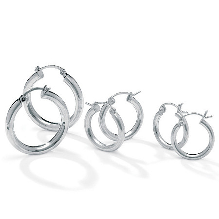 Silvertone 3-Pairs Hoop Earrings Set