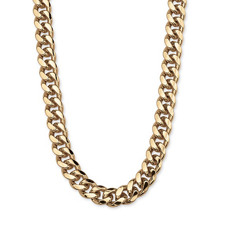 Men's Curb Link Chain in Yellow Gold Tone 30