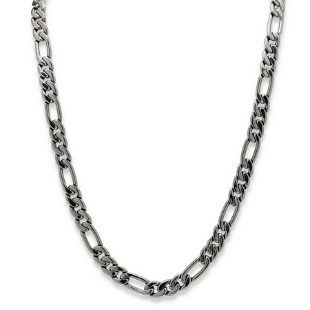 Men's Black Rhodium-Plated Figaro-Link 10.5 mm Necklace Chain 30