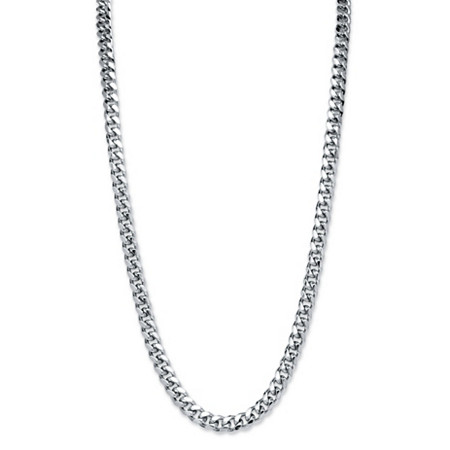 Men's Silvertone Curb-Link 10.5 mm Necklace Chain 30