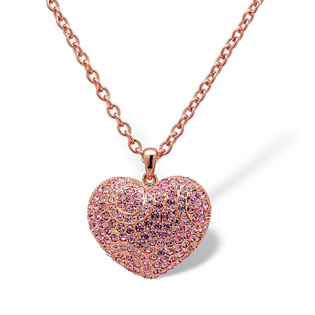Round Pink Crystal Rose Gold-Plated Puffed Heart-Shaped Pendant and Chain Necklace 28