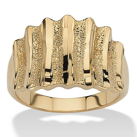 14k Gold-Plated Textured Concave Ring