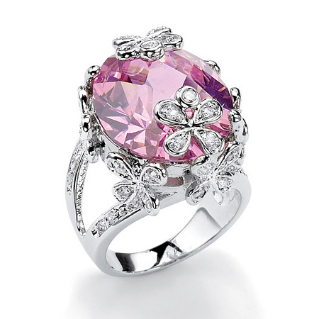 21.42 TCW Oval Cut Pink Cubic Zirconia Silvertone Flower and Butterfly Ring
