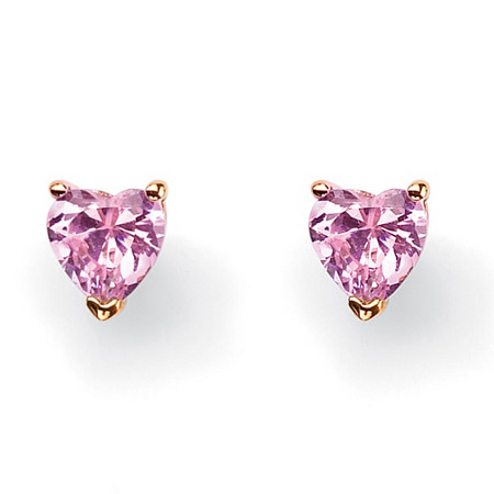 3.42 TCW Heart-Shaped Pink Cubic Zirconia 14k Yellow Gold-Plated Stud Earrings