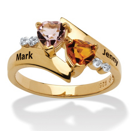 Heart-Shaped Simulated Birthstone 18k Yellow Gold over Sterling Silver Personalized Couple's Ring