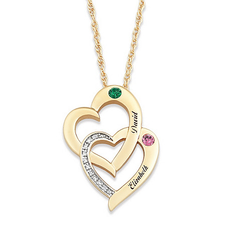 Round Simulated Birthstone 14k Yellow Gold-Plated Personalized Interlocking Hearts Couple's Pendant
