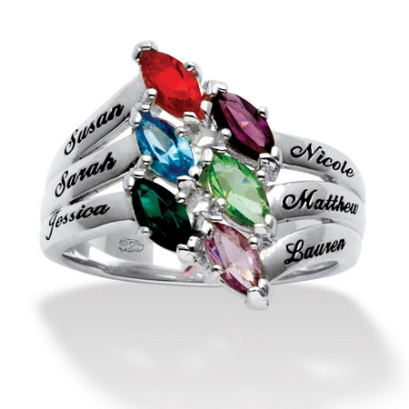 Marquise-Cut Simulated Birthstone Sterling Silver Personalized Family Ring