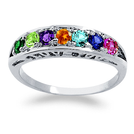 Sterling Silver Round Birthstone I Love You Family Ring