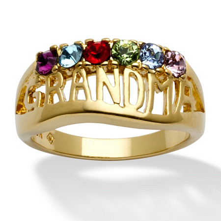 Round Simulated Birthstone 14k Yellow Gold-Plated Personalized Grandma Family Ring