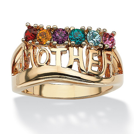 Round Simulated Birthstone 14k Yellow Gold-Plated Personalized Mother Family Ring