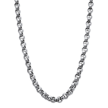 Men's Stainless Steel Rolo-Link 6 mm Necklace Chain 24