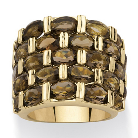 15.07 TCW Round Genuine Smoky Quartz 14k Yellow Gold-Plated Five-Row Ring