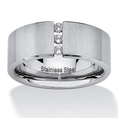 .18 TCW Round Cubic Zirconia Brushed Stainless Steel Wedding Band
