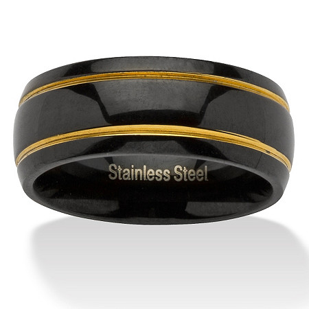 Black ION-Plated Stainless Steel Yellow Gold Tone Accent Grooved Wedding Band Ring