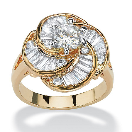 6.76 TCW Round Cubic Zirconia 14k Gold-Plated Cocktail Ring