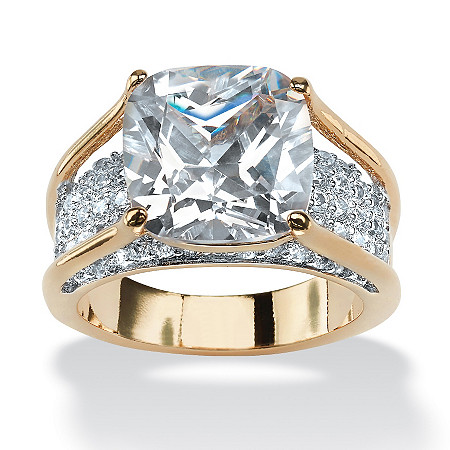 4.88 TCW Cushion Princess-Cut Cubic Zirconia 14k Gold-Plated Engagement Anniversary Ring