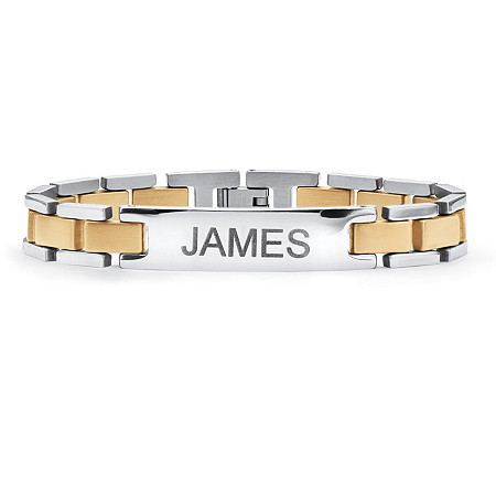 Men's Yellow Gold ION-Plated Stainless Steel Two-Tone Bar-Link Personalized I.D. Bracelet 8 1/4