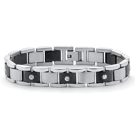 Men's Round Crystal Accent Black Ion-Plated Stainless Steel Bar-Link Bracelet 8 1/4