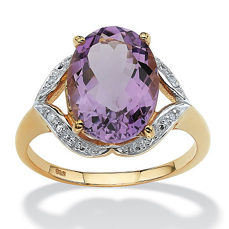 5.20-Carat Oval-Cut Genuine Amethyst with Diamond Accents 18k Gold over Sterling Silver Ring