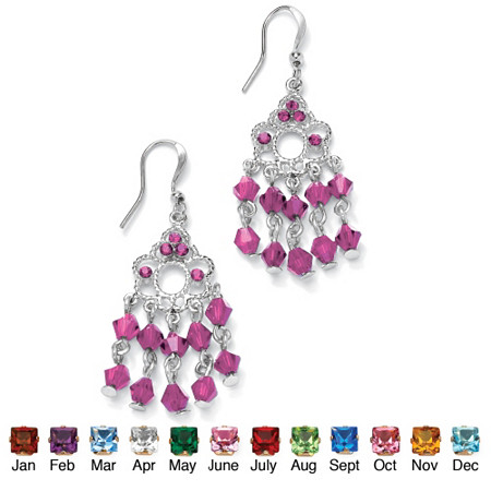 Round Simulated Birthstone Silvertone Chandelier Earrings
