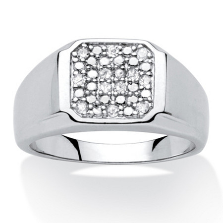 Men's .20 TCW Round Diamond Platinum over Sterling Silver Octagon-Shaped Classic Ring