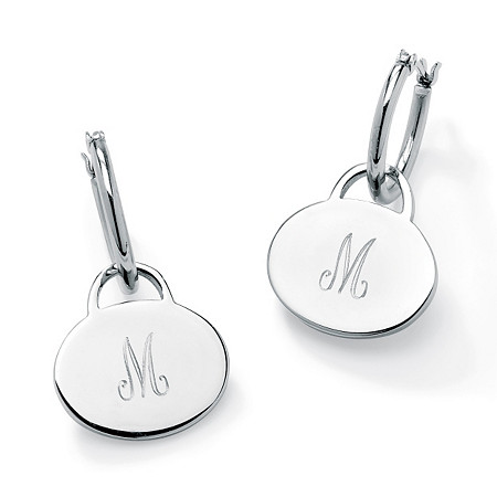 Stainless Steel Personalized Disk Drop Hoop Pierced Earrings