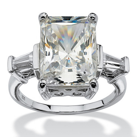 11.93 TCW Emerald-Cut Cubic Zirconia Platinum over Sterling Silver Bridal Engagement Cutout Ring