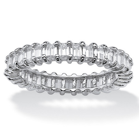 3.00 TCW Baguette-Cut Cubic Zirconia Platinum over Sterling Silver Eternity Band Stackable Ring