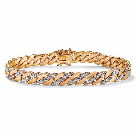 Men's Diamond Accent 14k Yellow Gold-Plated Curb-Link Bracelet 8 1/2
