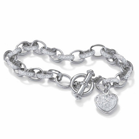 Round Diamond Platinum Plated Heart Charm Bracelet 7 1/4